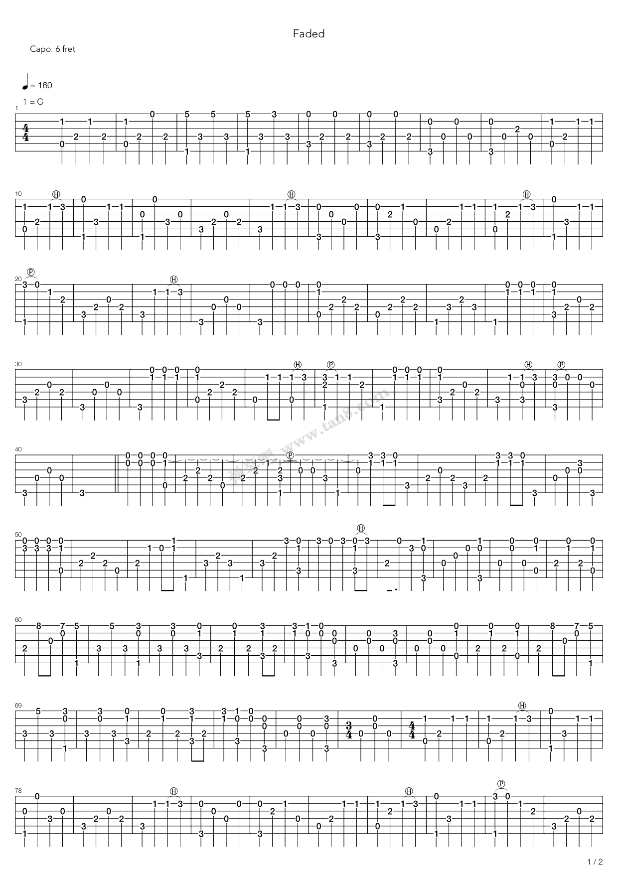 Faded By Alan Walker Solo Free Guitar Sheet Music Tabs Chords