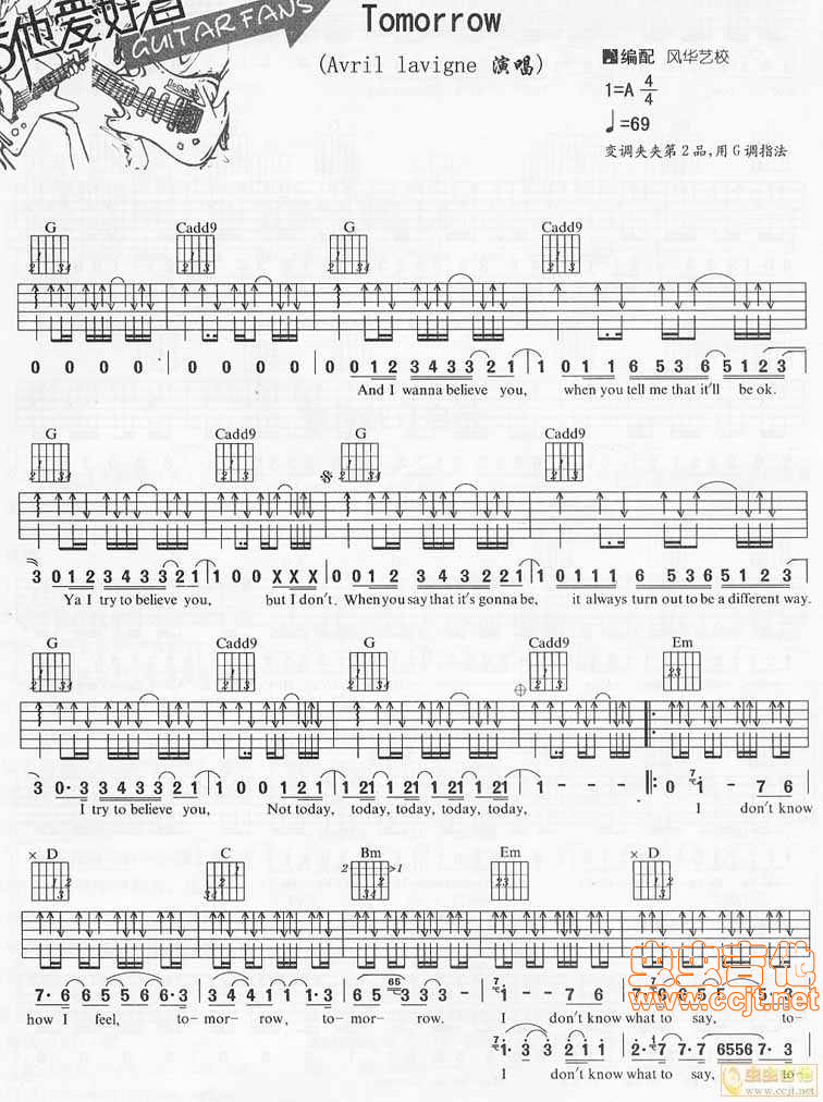 Tomorrow By Avril Lavigne Free Guitar Sheet Music Tabs Chords