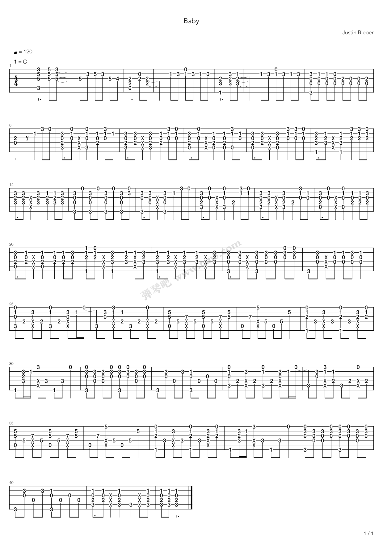 Baby By Justin Bieber Solo Guitar Tabs Chords Sheet Music Free