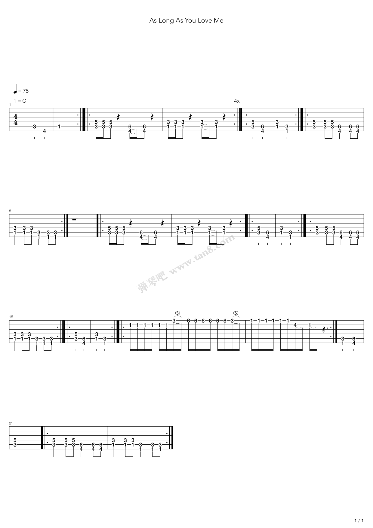As Long As You Love Me By Justin Bieber Acoustic Guitar Tabs