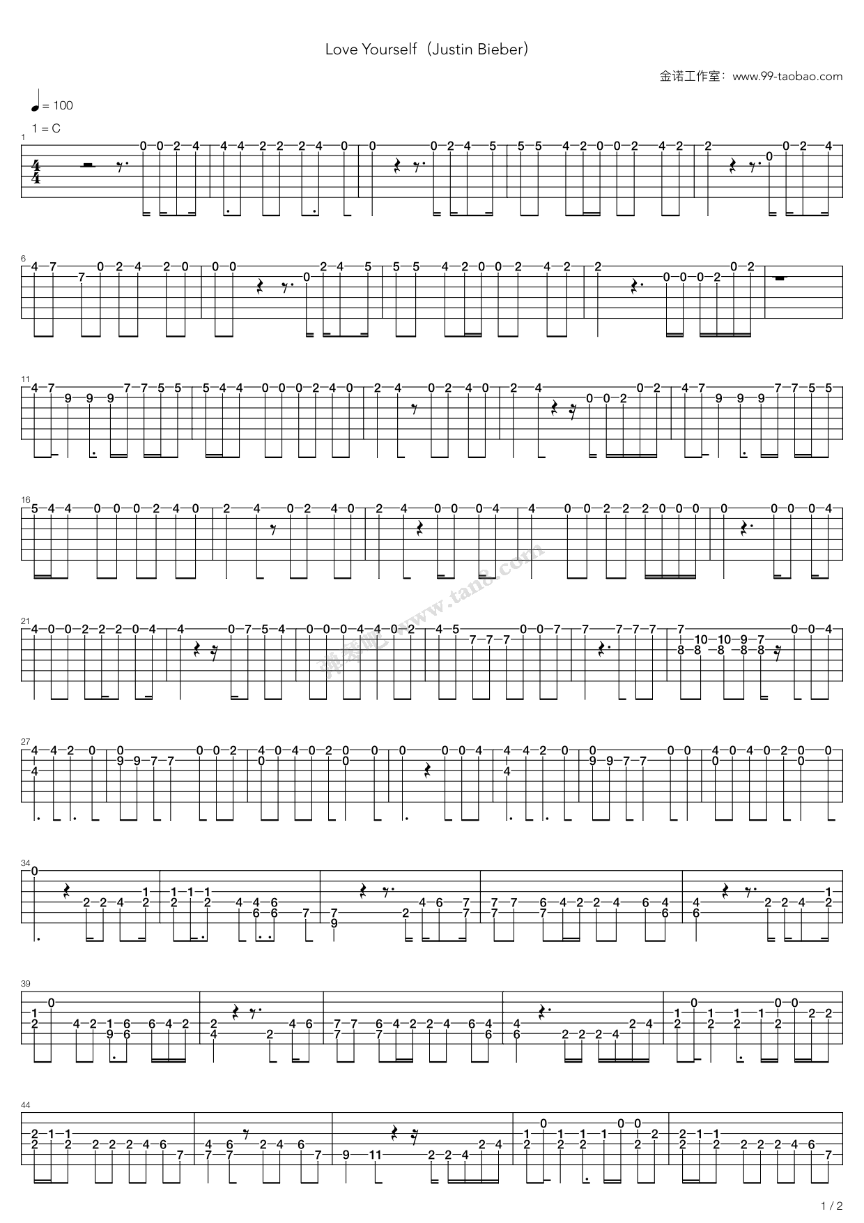 Love Yourself By Justin Bieber Easy Guitar Tabs Chords Sheet Music