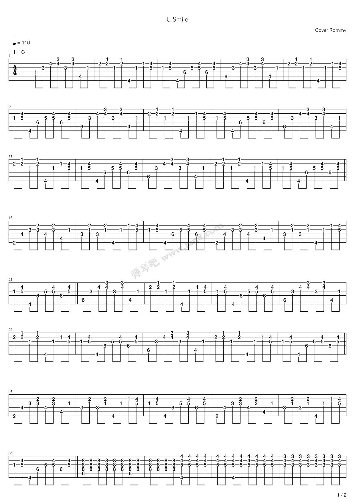 U Smile By Justin Bieber Guitar Tabs Chords Sheet Music Free