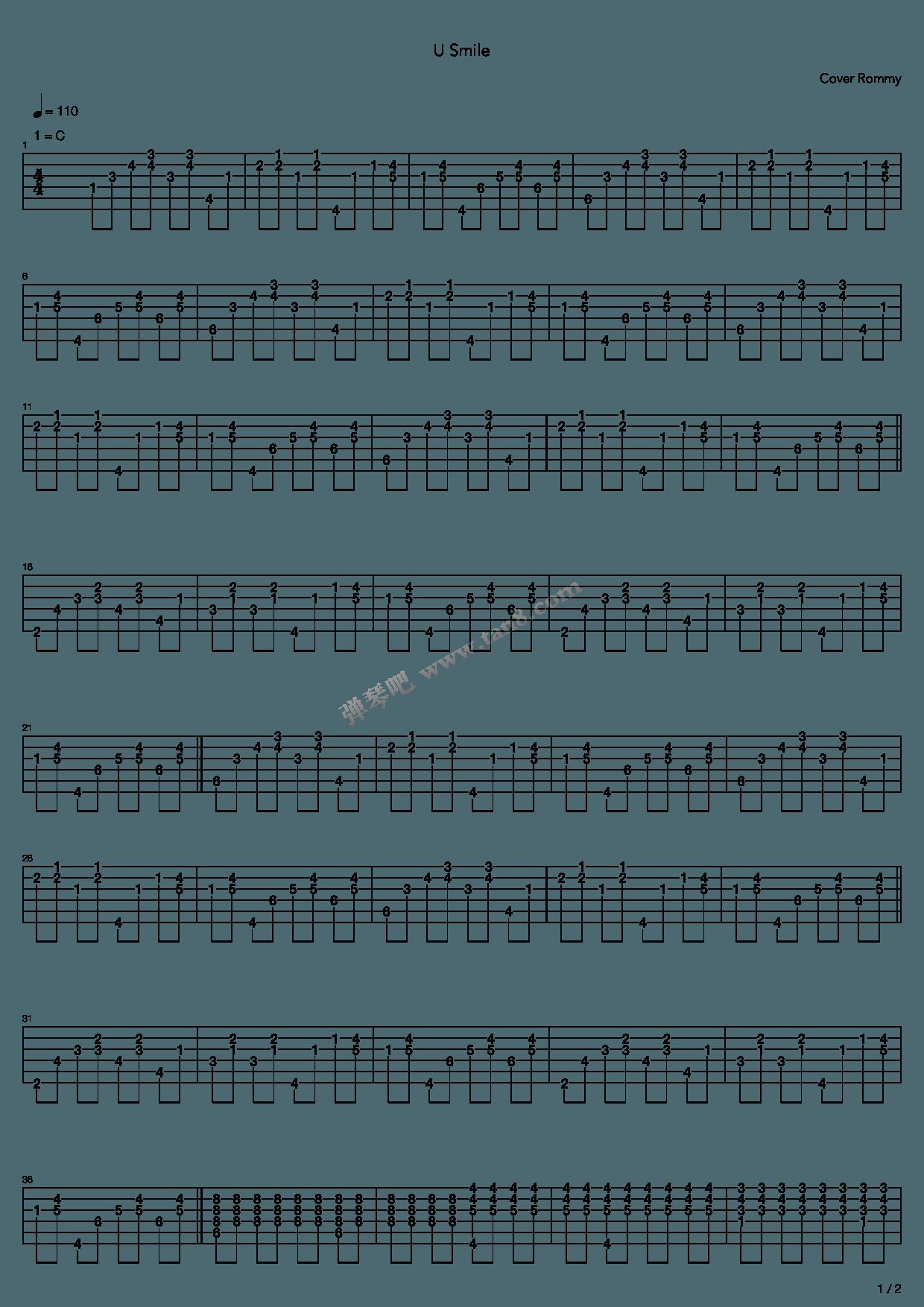 u smile by justin bieber guitar tabs chords sheet music