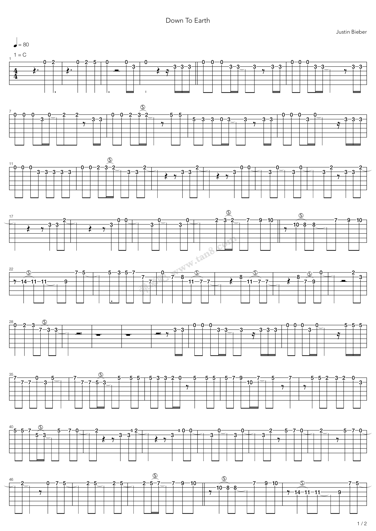 Down To Earth By Justin Bieber Guitar Tabs Chords Sheet Music Free