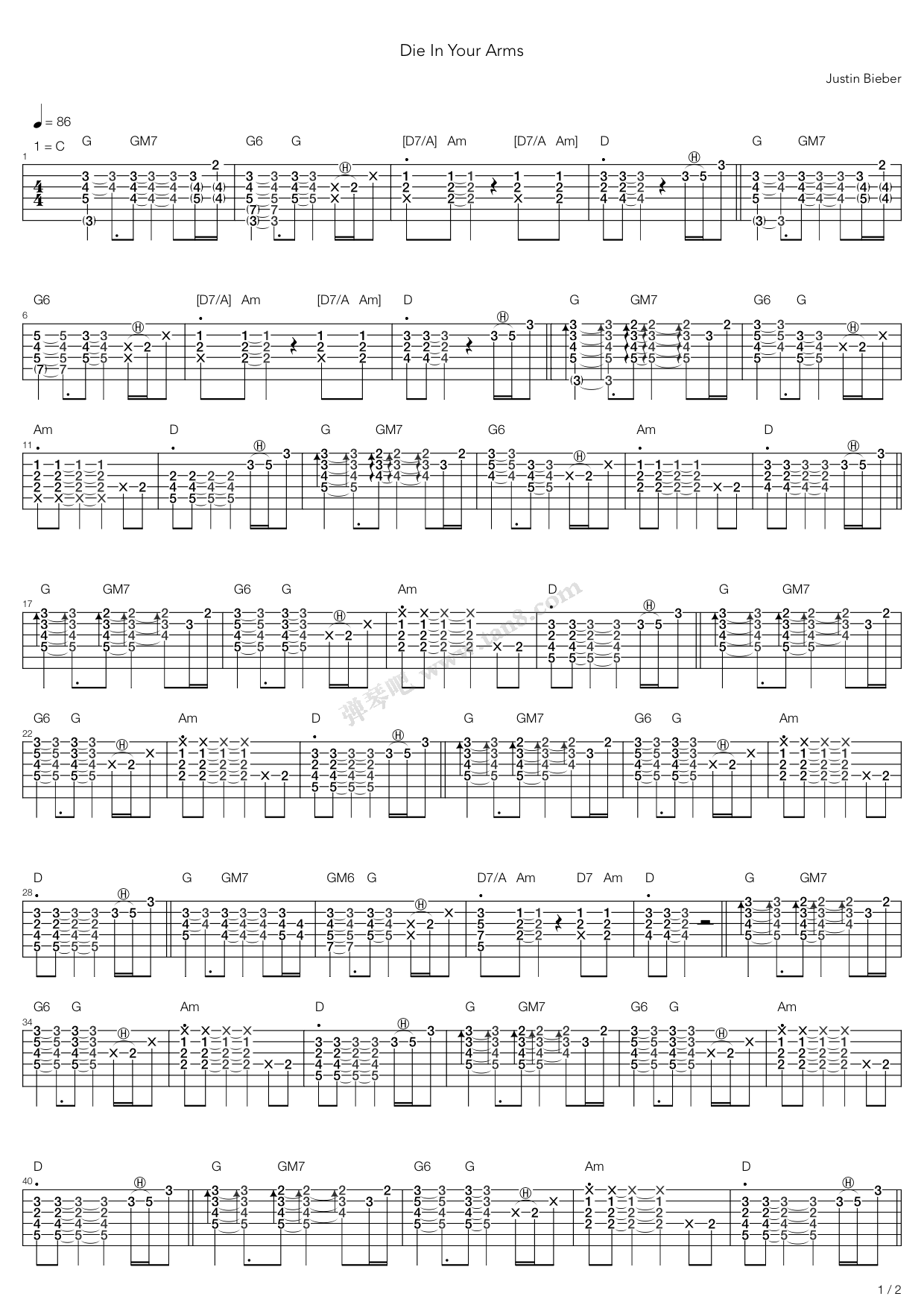 Die In Your Arms By Justin Bieber Guitar Tabs Chords Sheet Music
