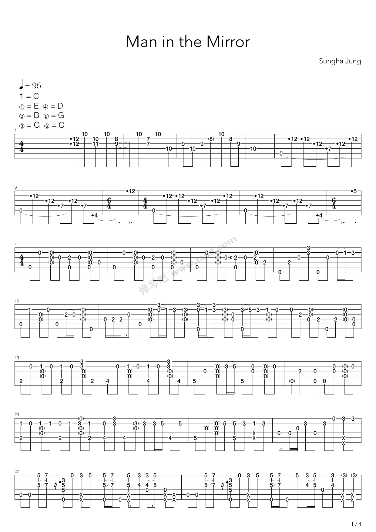 Man In The Mirror by Sungha Jung Guitar Tabs Chords Sheet
