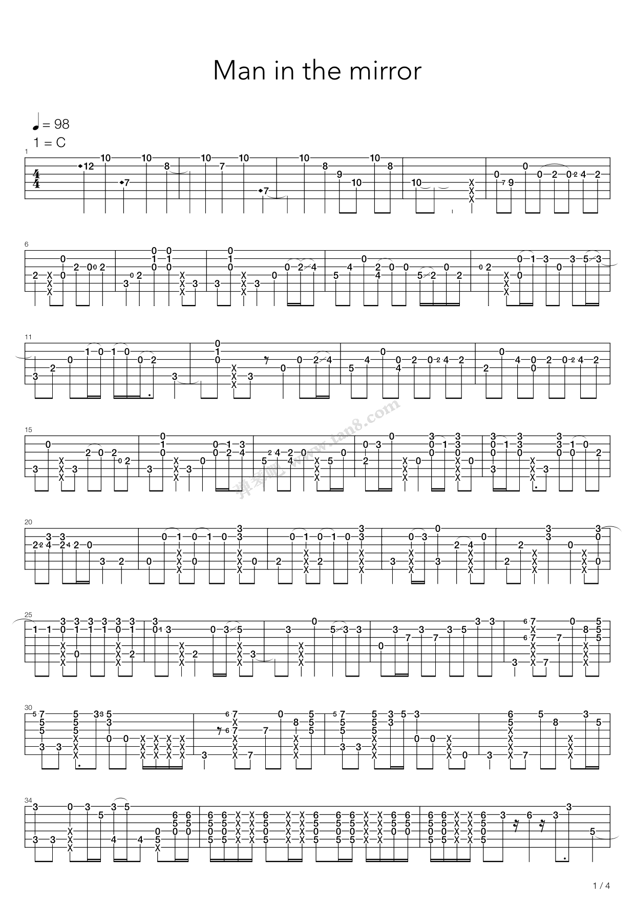 Man In The Mirror By Adam Rafferty Solo Guitar Tabs Chords Sheet