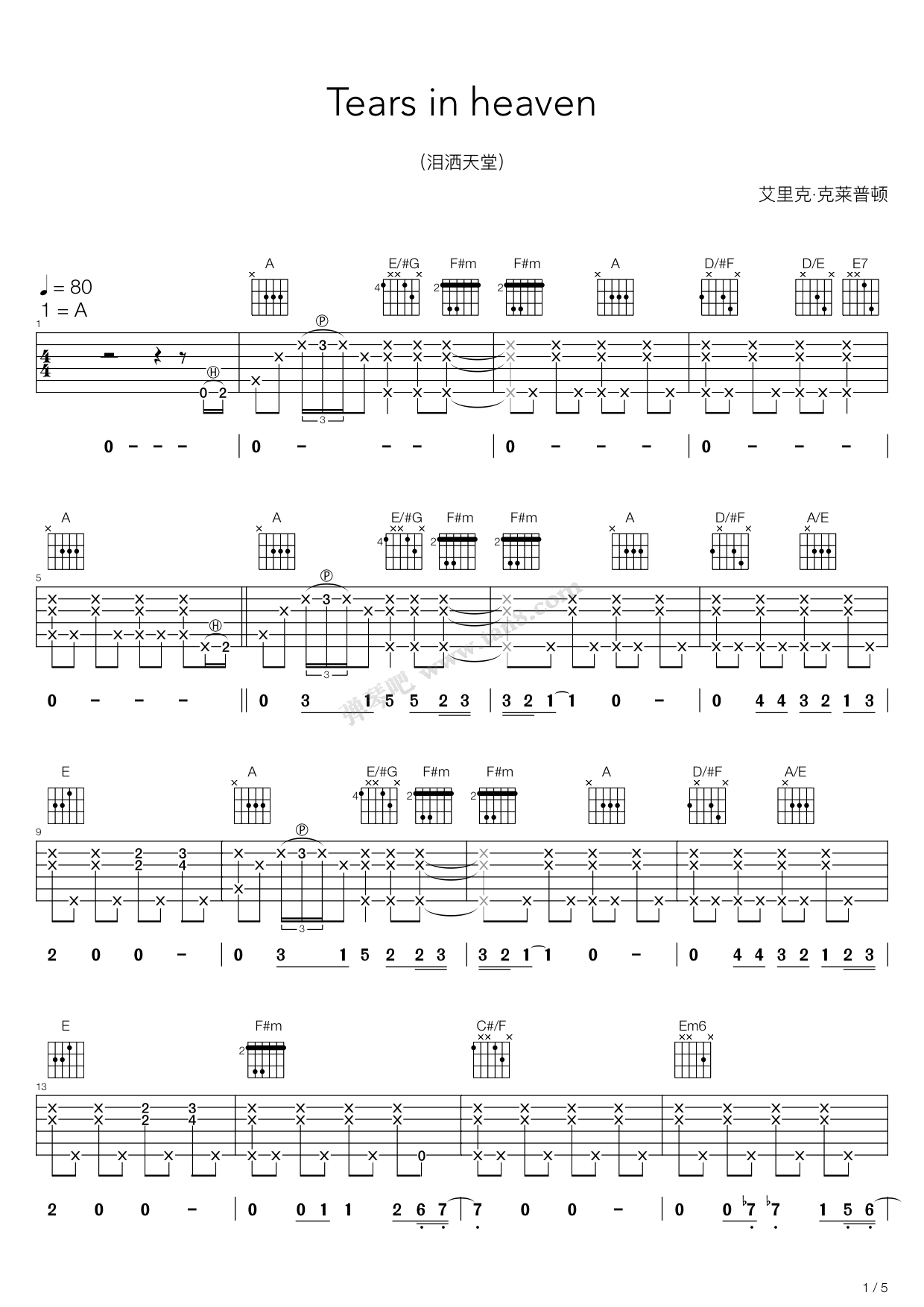 Tears In Heaven Tab By Eric Clapton Guitar Tabs Chords Sheet Music