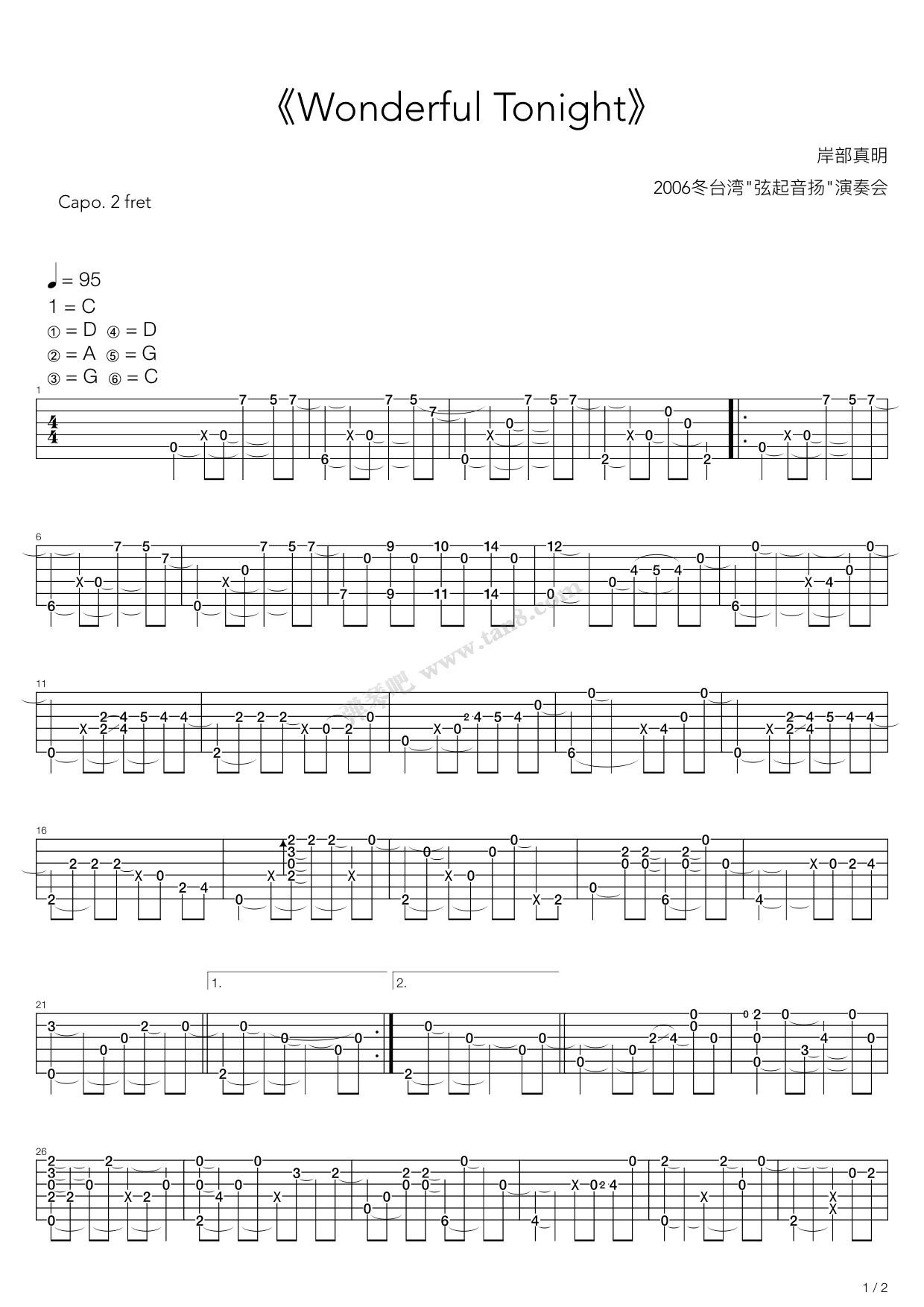 Wonderful Tonight By Masaaki Kishibe Guitar Tabs Chords Sheet Music