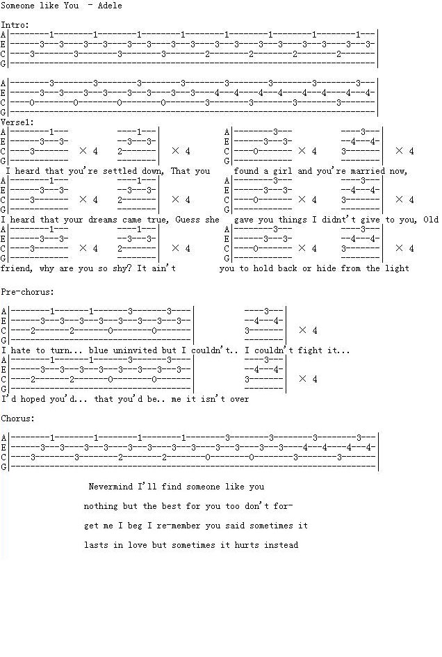 Someone Like You By Adele Guitar Sheet Music Free Free Guitar Sheet