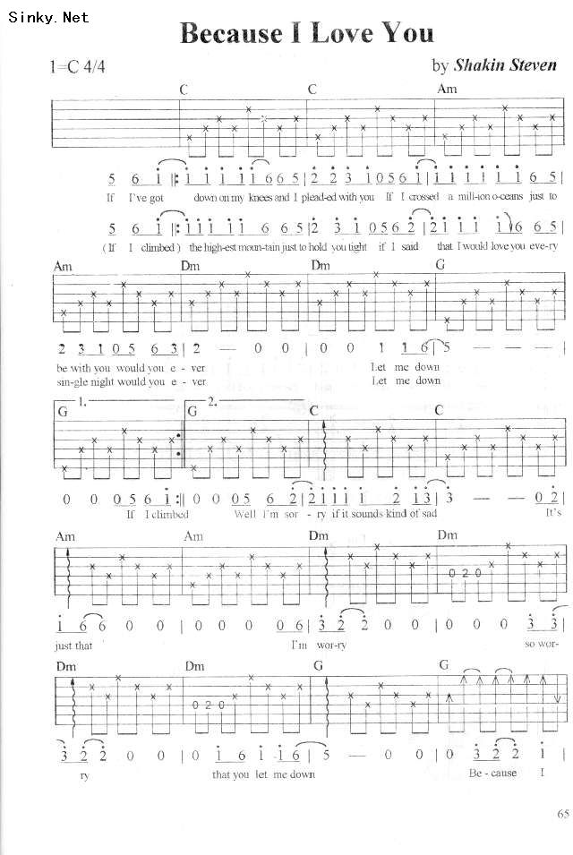 Because I Love You By Shakin Stevens Guitar Sheet Music Free Guitar