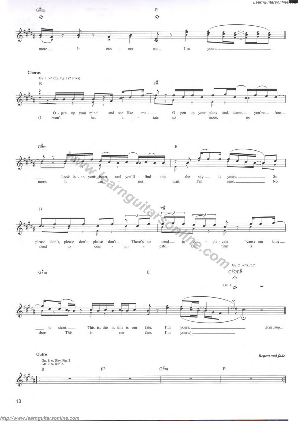 Im Yours By Jason Mraz6 Free Guitar Sheet Music Tabs Chords