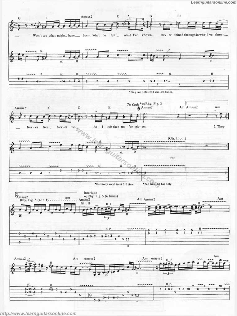 The Unforgiven By Metallica4 Free Guitar Sheet Music Tabs Chords