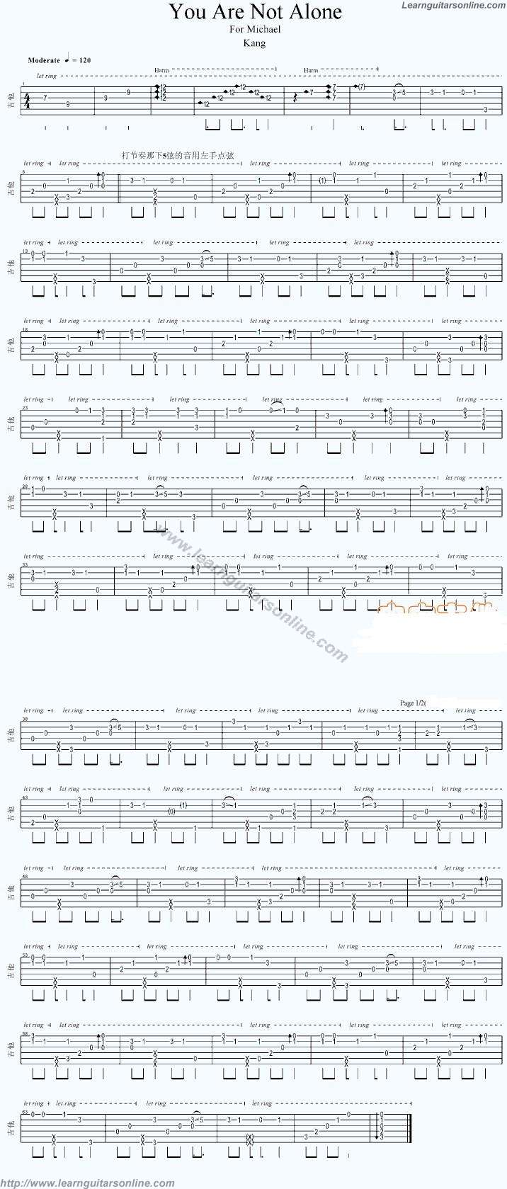 You Are Not Alone By Michael Jackson Free Guitar Sheet Music Tabs