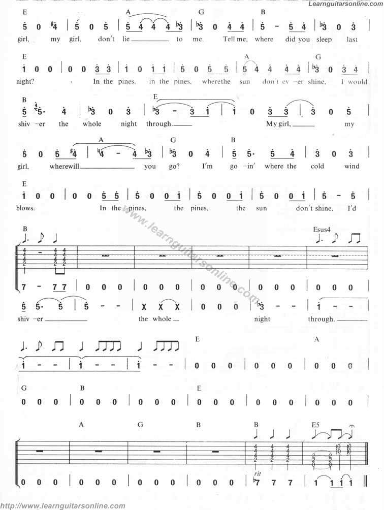 Where Did You Sleep Last Night by Nirvana(3) Free Guitar Sheet Music ...