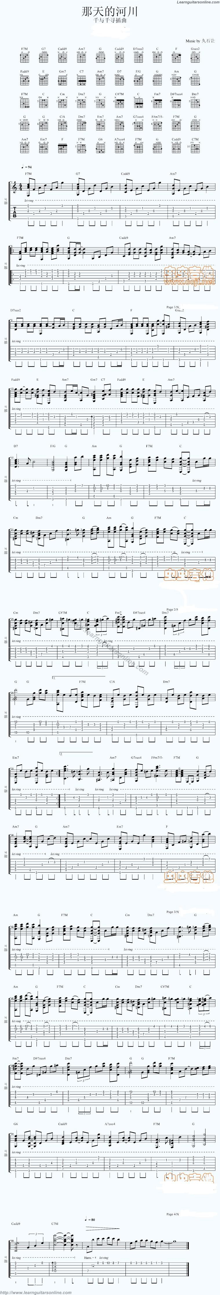 One Summers Day From Spirited Away By Joe Hisaishi Guitar Tabs Chords Sheet Music Free Learnguitarsonline Com